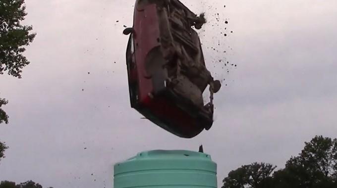 Enduraplas vertical tank test, dropping a car from 35 feet