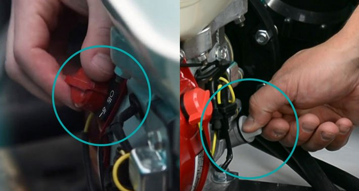 Turn off engine and remove fill cap